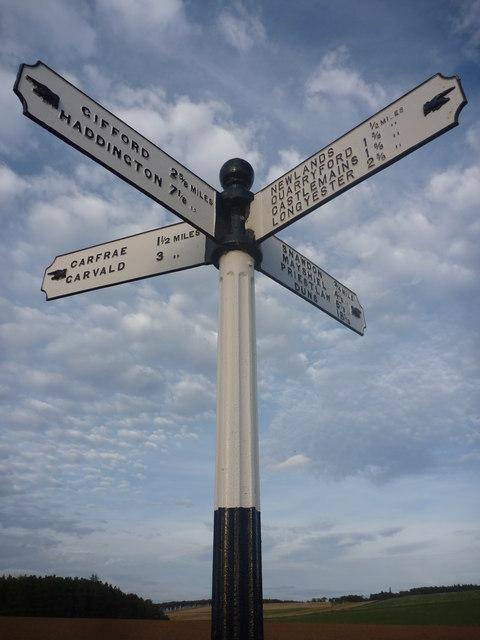 East Lothian County Council Fingerposts : Danskine Crossroads