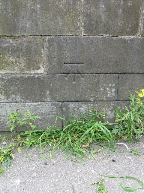 Bench mark on steps of Bradford Reform Synagogue