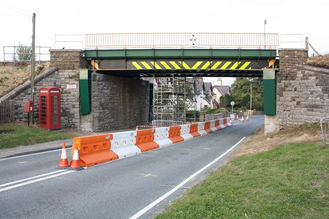 Railway bridge over A685 near the Settle-Carlisle railway station