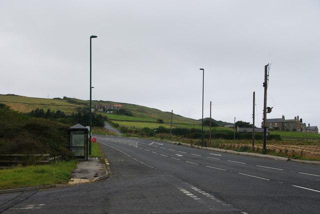 The A174 below Boulby Cliff