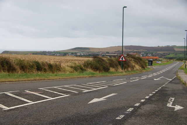 The A174 approaching Staithes