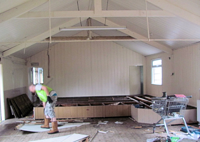 Removing the stage in the Former New Mill Community Centre