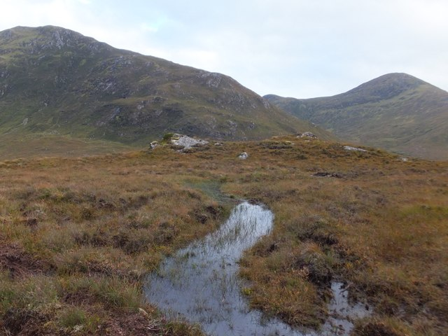 Rocky outcrop in wet moorland above River Meig