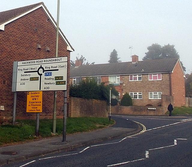 Choices ahead at Hackwood Road Roundabout, Basingstoke