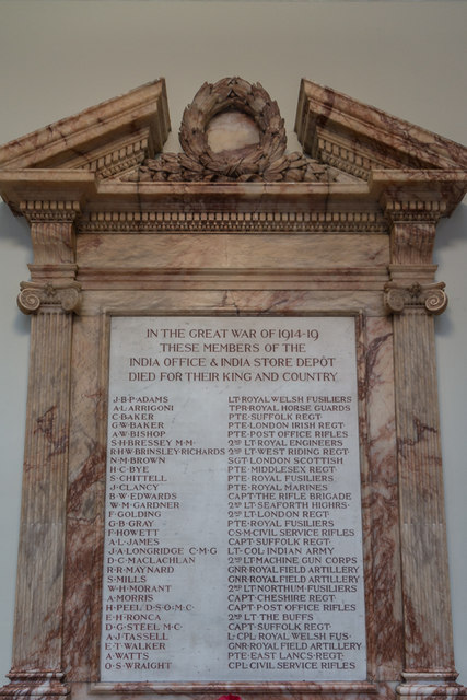 War Memorial, Foreign and Commonwealth Office, King Charles Street, London SW1