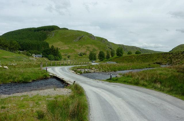 Road crossing the Afon Irfon, Powys