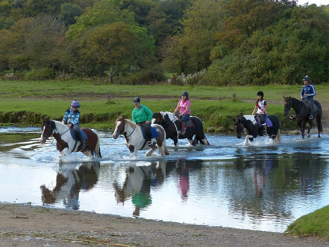 Horse riders fording the Ewenny River