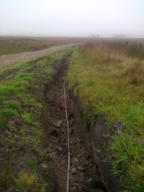 Half Completed Trench for Telephone Cable