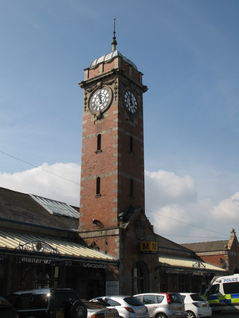 The clock tower at Whitley Bay Metro station