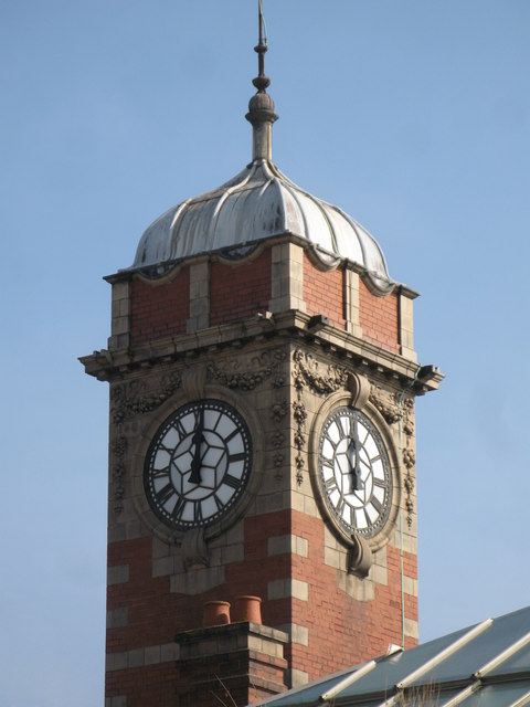 The top of the clock tower at Whitley Bay Metro station