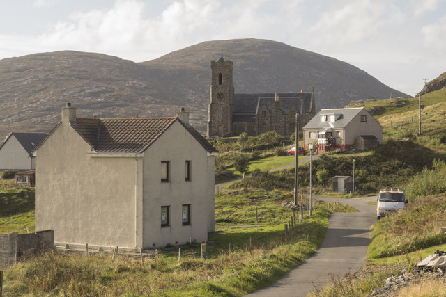 View towards Church of 'Our Lady, Star of the Sea' in Castlebay