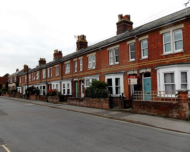 Row of houses in Emsworth Road, Lymington