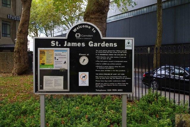 Information board in St. James Gardens, Cardington Street, Camden, London