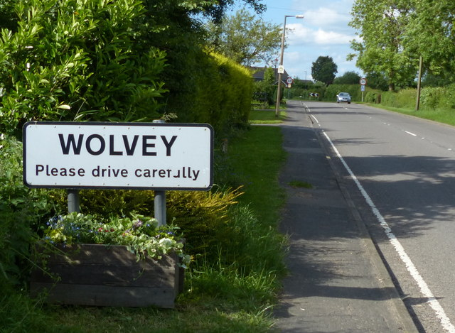Wolvey sign along the B4065 Coventry Road