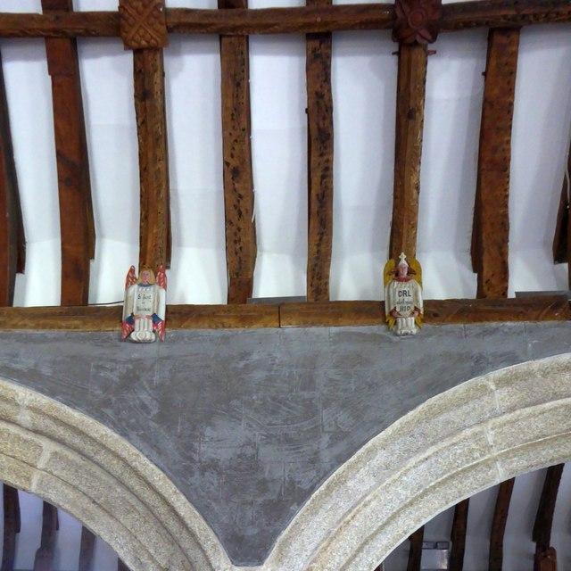 Two carved angels, St Endellion