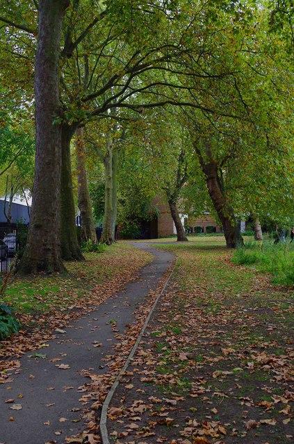 Footpath & trees in St. James Gardens, Cardington Street, Camden, London
