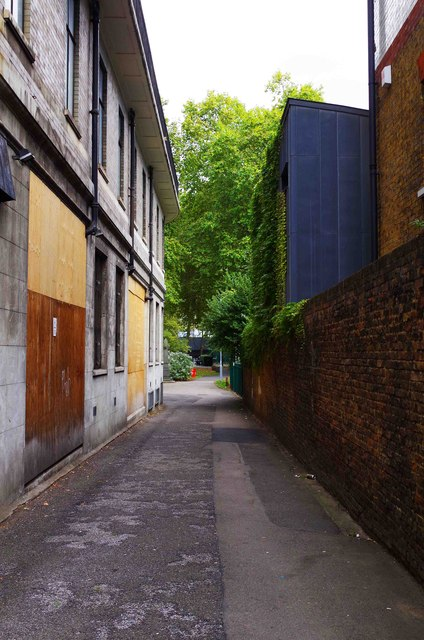 Entrance passageway from Hampstead Road to St. James Gardens, Camden, London