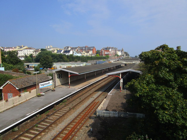 Teignmouth station seen from Shute Hill bridge