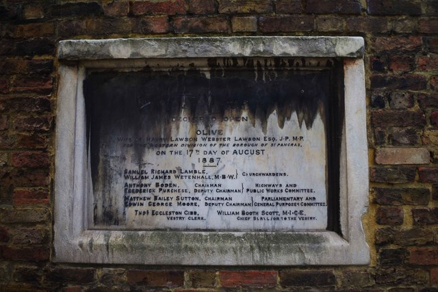 Plaque commemorating the opening of St. James Gardens, Camden, London