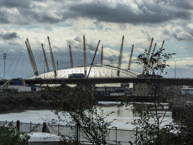 Bow Creek with O2 Arena as seen from Canning Town, London