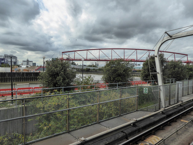 Bridge to new Island as seen from Canning Town Station, Docklands Light Railway, London