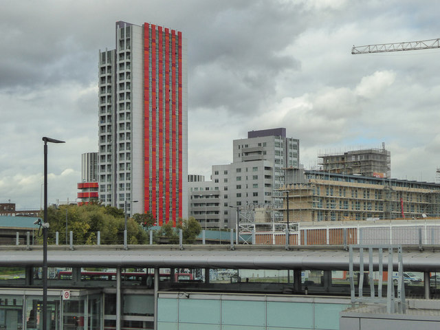 Canning Town as seen from the Station, Docklands Light Railway, London