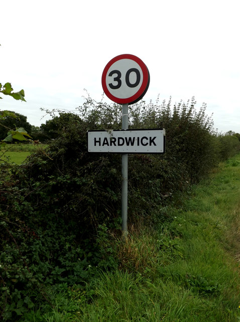 Hardwick Village Name sign on Common Road