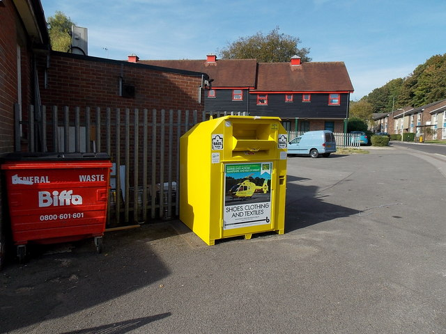 Yellow donations bin, Stanmore, Winchester