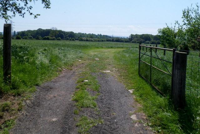 Public footpath through a field near Fretherne