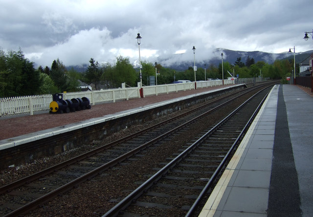 Railway heading south from Aviemore Railway Station