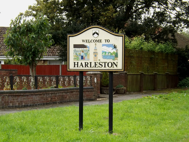 Harleston Village Name sign on The Street