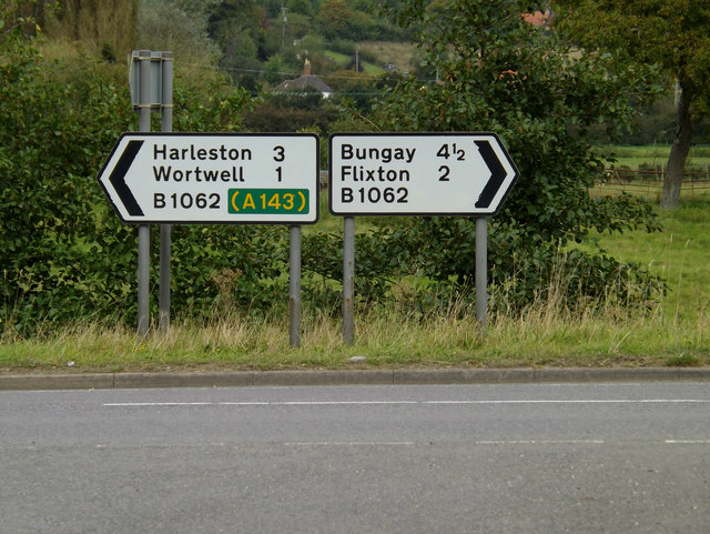 Roadsigns on the B1062 Flixton Road