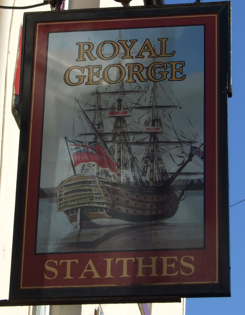 Sign for the Royal George pub, Staithes