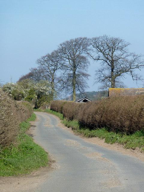 Lane near Cranmere north of Worfield, Shropshire