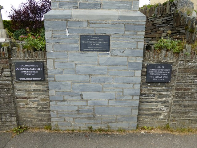 Plaques in Delabole, by the war memorial