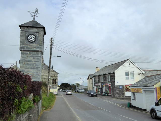 Clock tower by B3314 in Delabole