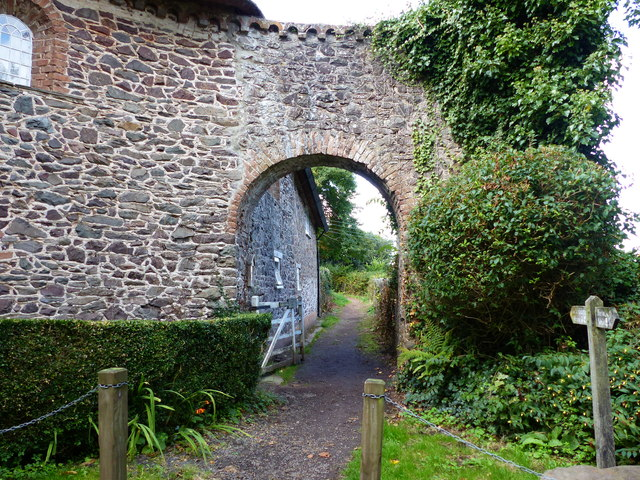 Footpath at the toll collection house, Worthy toll road, Porlock Weir