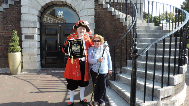 The Poole Town Crier with Tricia at Poole Guildhall