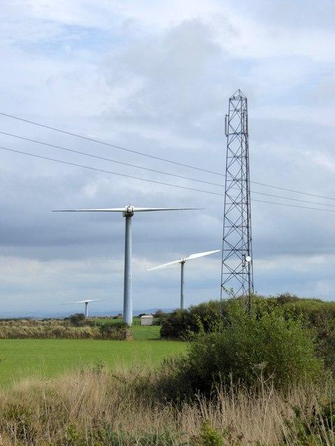 Phone mast and wind turbines near Cold Northcott