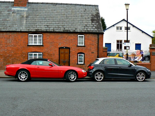 Cars outside 6 Castle Street, Hereford