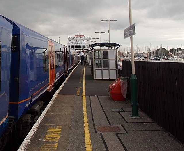 Train and ferry at Lymington Pier