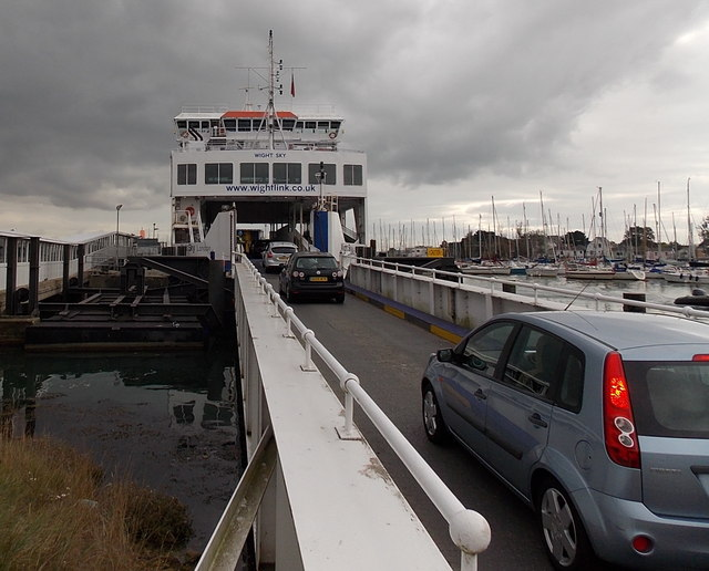 Onto the ferry at Lymington Pier