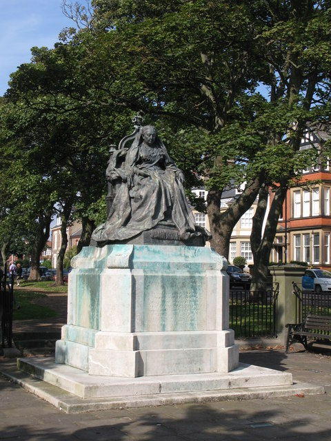 Statue of Queen Victoria, public gardens, Manor Road, NE30