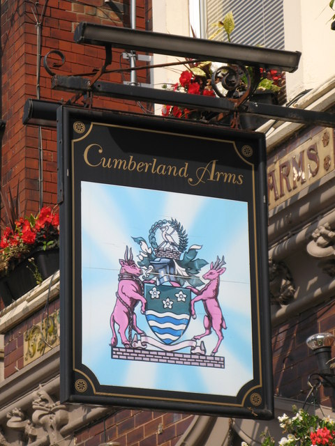 Sign for The Cumberland Arms, Front Street, NE30