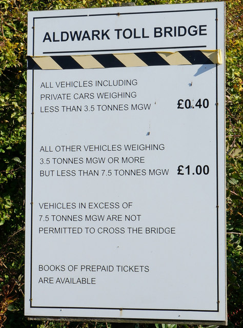 Price list at Aldwark Toll Bridge