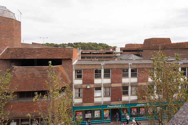Top of Friarsgate Car Park seen from roof of The Brooks Shopping Centre