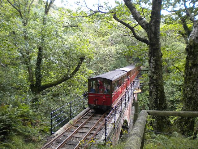 Train on Dolgoch viaduct