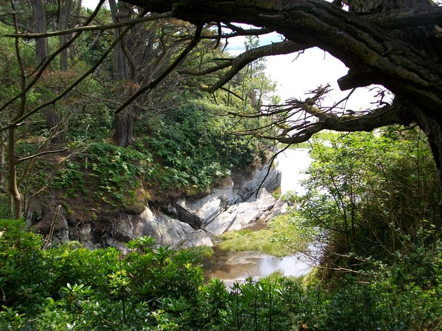Cove on the coast of Portmeirion Gardens