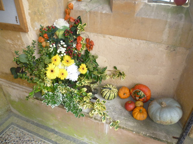 Harvest festival in the porch at St Giles Church, Shipbourne