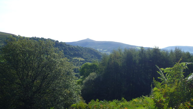 View to the Sugar Loaf from the path up Crug Hywel
